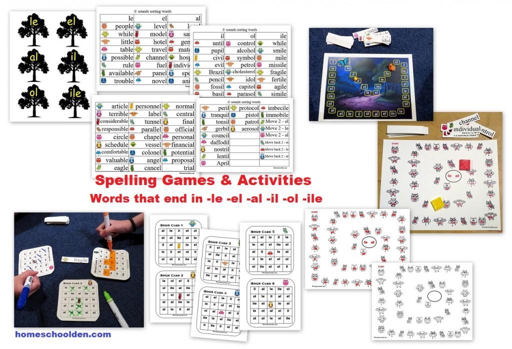 Spelling-Words-end-in le el il al ol ile Games and Activities