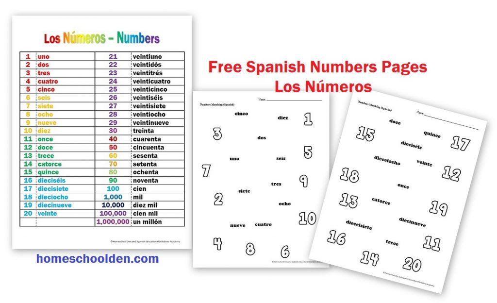 Free Spanish Numbers Worksheets