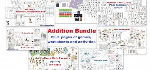 Addition Bundle-250+ pages of games worksheets and activities