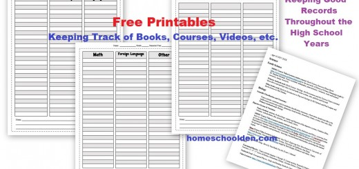Homeschool Planner - Keeping Good Records in High School - Keeping Track for the College Application Process