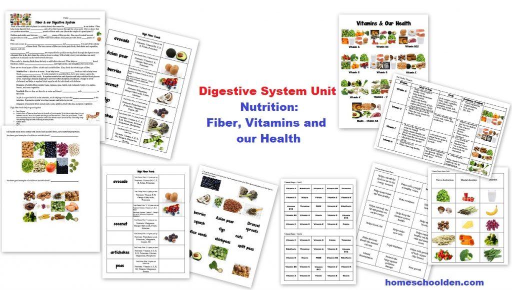 worksheet Nutrition Worksheets nutrition fiber and vitamin worksheets homeschool den activities vitamins