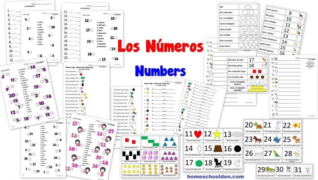 Spanish Worksheets for Kids - Los Números - Numbers Worksheet