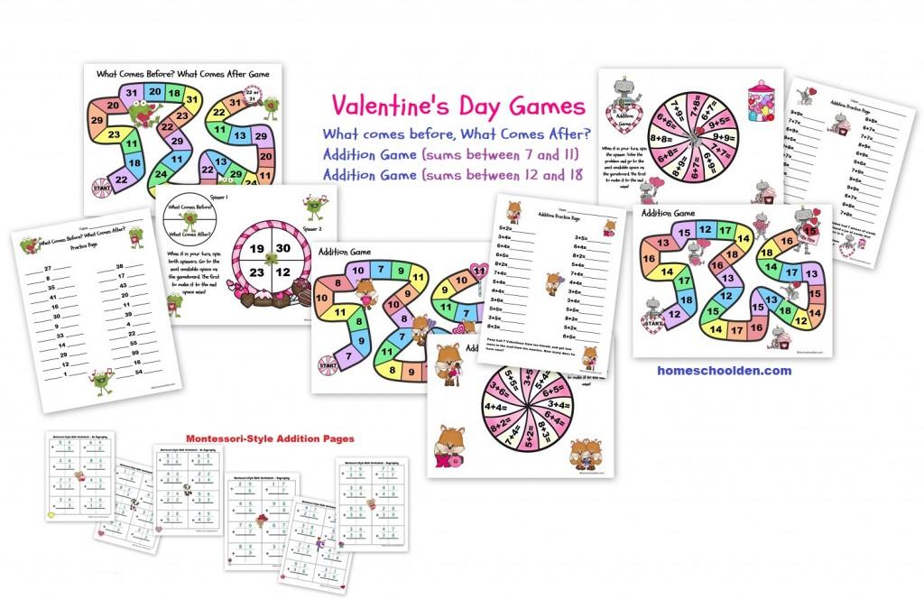 Valentines Math Games - Montessori Addition Pages