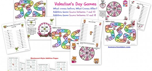 Valentines Math Games - Montessori Addition Pages