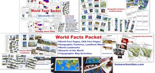 World Facts Packet - Geographic Features Landform Words Topographic Maps