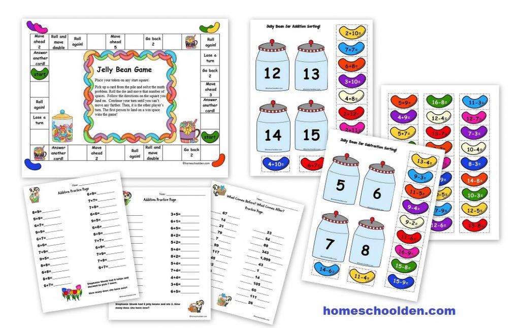 Dragon Math Packet - Addition Games & Worksheets - Homeschool Den