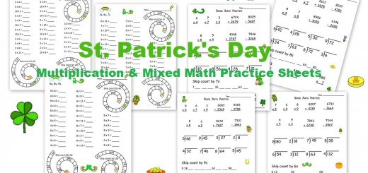 St. Patricks Day Multiplication and Mixed Math Practice Worksheets