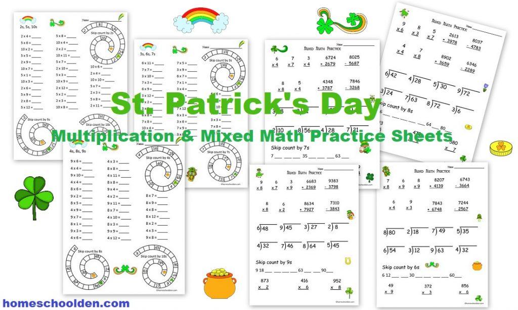 St. Patrick's Day Multiplication & Mixed Math Worksheets - Homeschool Den