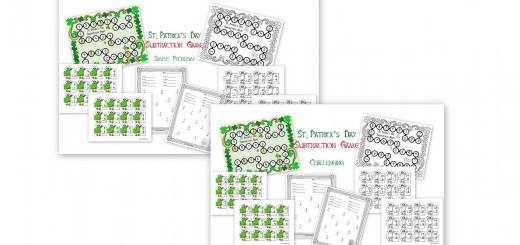 St. Patrick's Day Subtraction Game Boards