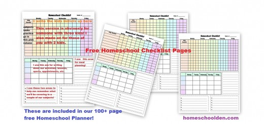 Free Homeschool Checklist Pages