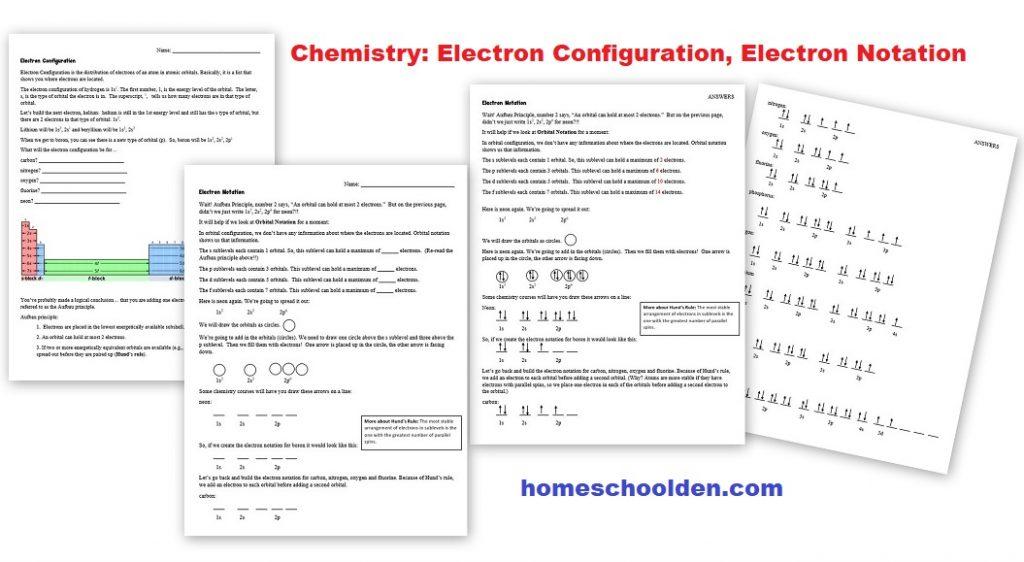 Chemistry Worksheet - Electron Configuration Electron Notation