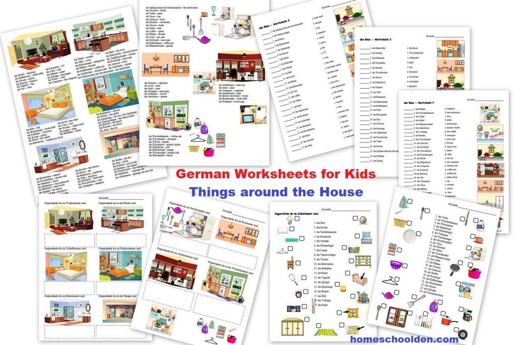 German Worksheets - Things Around the House - das Haus