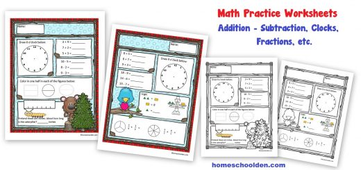 Math Practice Worksheets - Addition - Subtraction - Easy Fractions