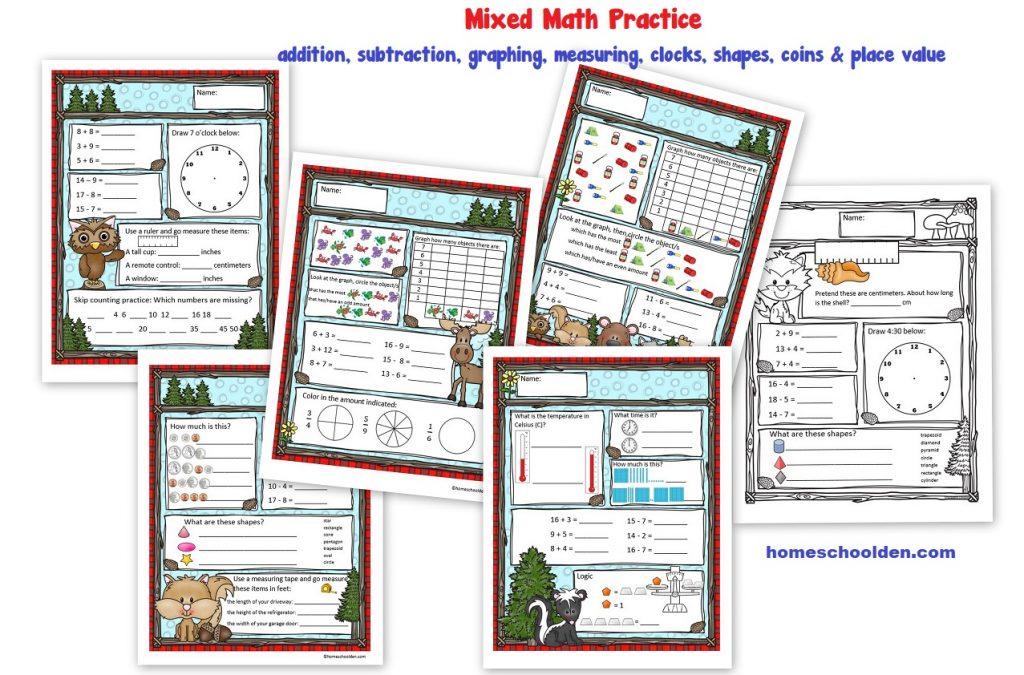Mixed Math Practice for K-Grade 1