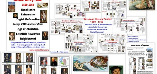 European History Packet - Worksheets Notebook Pages and More