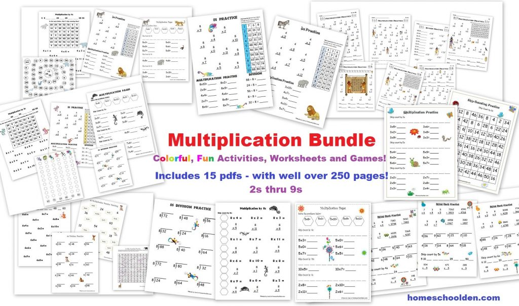 Multiplication Bundle - worksheets games activities skip counting mazes and more!