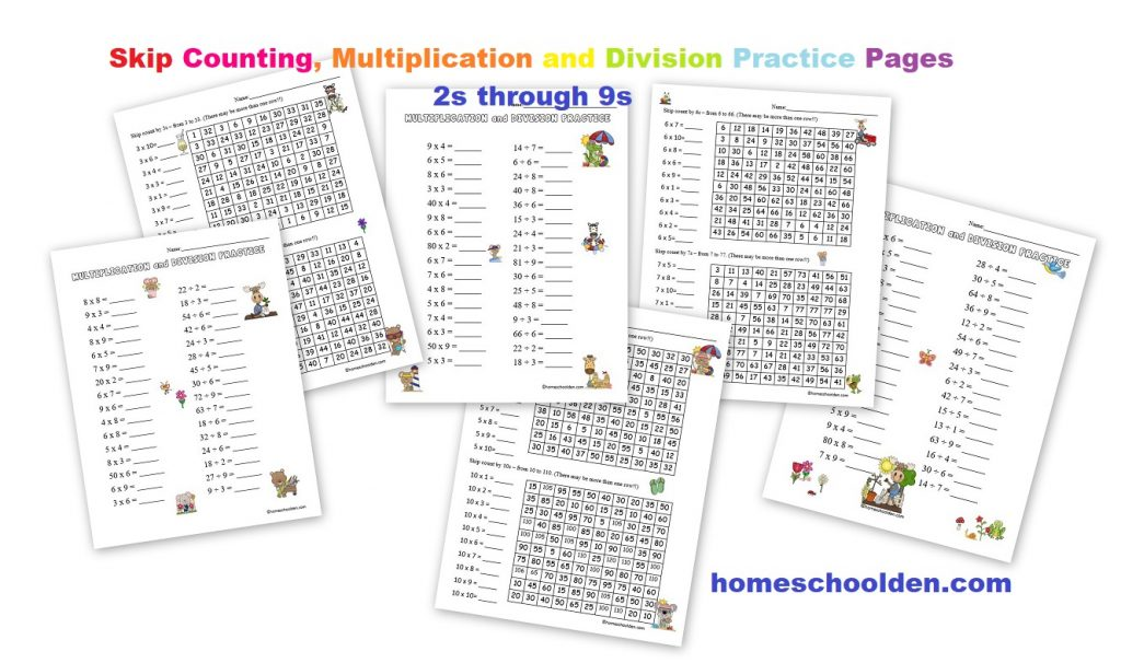 Monday Math Freebie- Skip Counting Mazes 2s 5s 10s - Homeschool Den