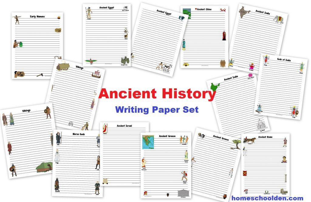 Ancient History Writing Paper Set