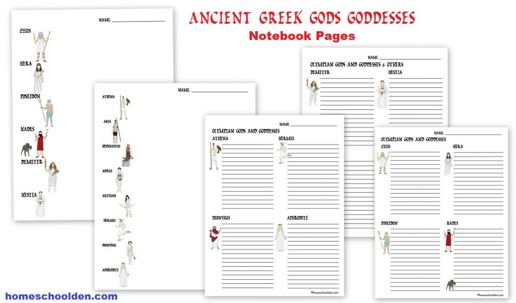 Ancient Greek Gods And Goddesses Packet Homeschool Den