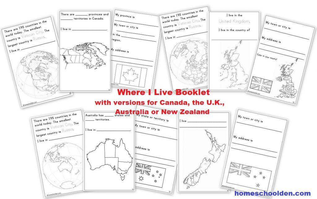 Where I LIve Booklet - Canada UK Australia New Zealand