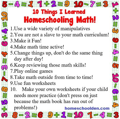 10 Things I Learned Homeschooling Math - Math List - HSD