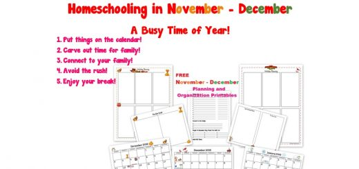 Homeschooling in November December - A Busy Time of Year - Free Printable Packet