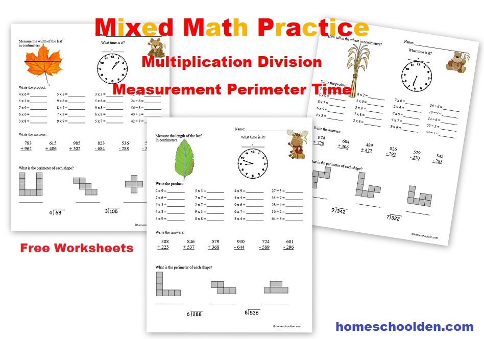 Free Mixed Math Practice Sheets - Multiplication Division ...