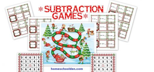 Christmas Subtraction Games - Board Game 5 In a Row Game