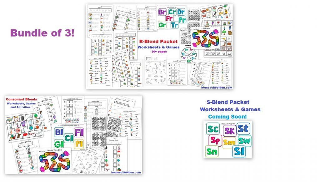 Consonant Blends Worksheet and Games Bundle