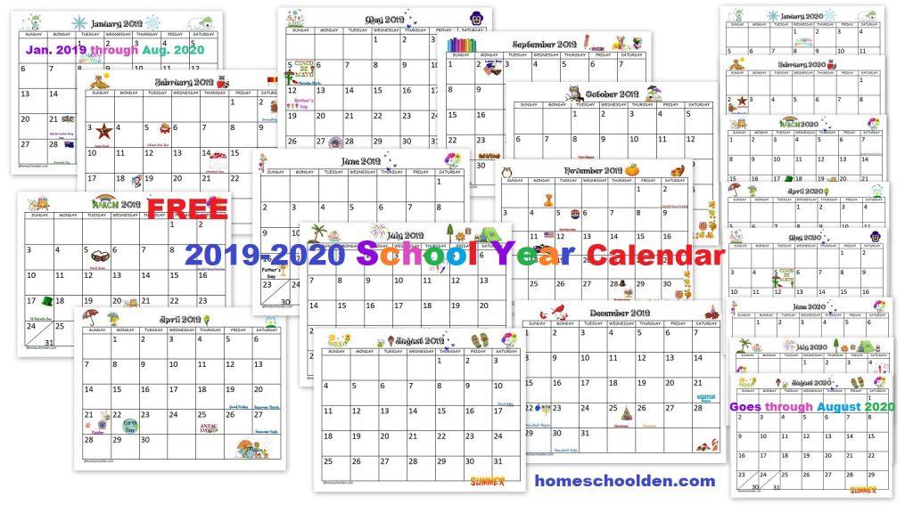 FREE 2019-2020 School Year Calendar printable