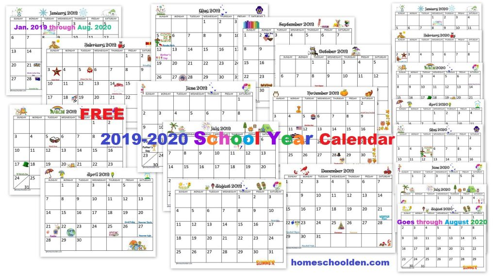 2016 2020 School Year Calendar Free 2019 2020 Calendar Printable   Homeschool Den