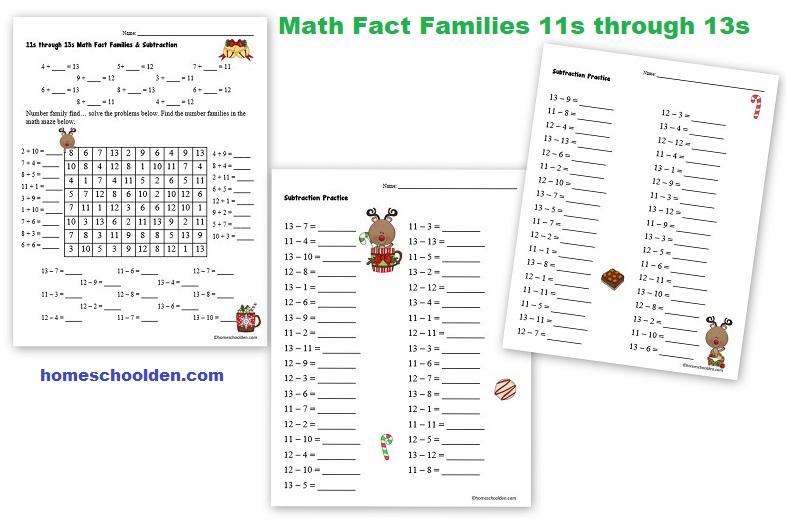 Math Fact Families 11s through 13s