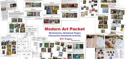 Modern Art Packet - Impressionism and Post-Impressionism Worksheets - Interactive Notebook Activities