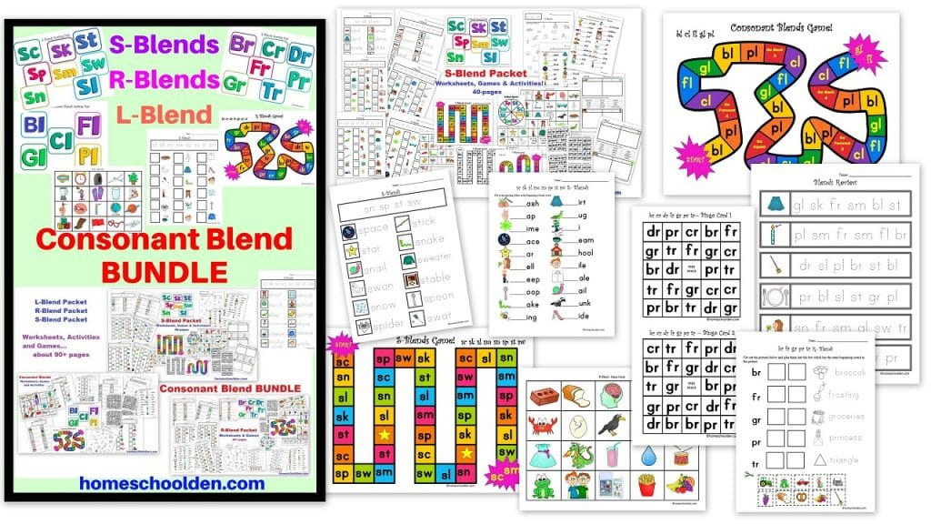 onsonant Blend BUNDLE - S-Blends worksheets activities and games plus L-blend R-blend words