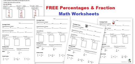 Free Percentages and Fractions Math Worksheets