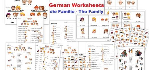 German Worksheets for Kids - die Familie the Family