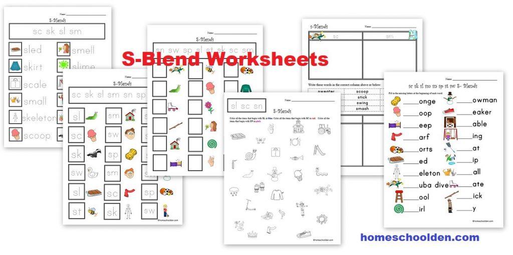 S-Blend Worksheets
