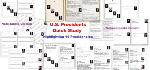 US Presidents Quick Study - Highlighting 14 Presidents