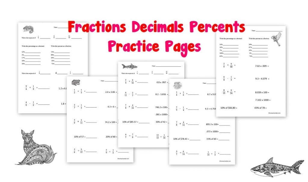 Fractions Decimals Percents Worksheets - Homeschool Den