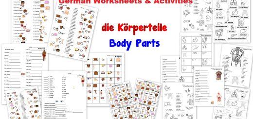 German Worksheets - die Körperteile Body Parts - Organe Knochen