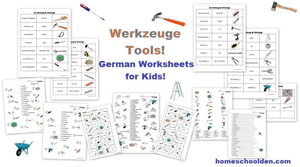 German Worksheets for Kids - Werkzeuge - Tools