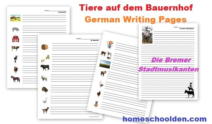 German Writing Pages - Tiere auf dem Bauernhof