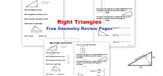 Right Triangles - Free Geometry Review Pages