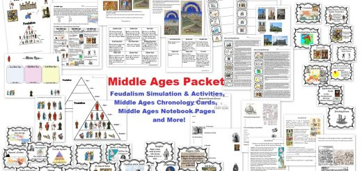 Middle Ages Unit - Worksheets, Chronology Cards, Notebook Pages, Feudalism Simulation, Activities