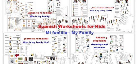 Spanish Worksheets for Kids Mi familia - My Family - SpanishSet1