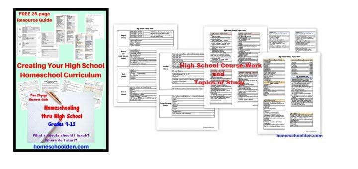 High School Homeschool Resource Guide - Subjects, Topics of Study - Grades 9-12
