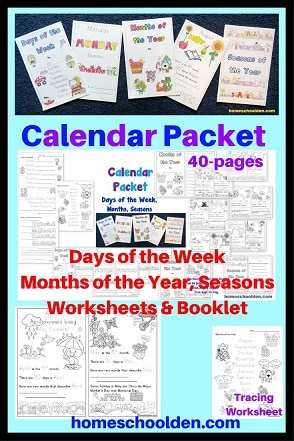 Calendar Packet - Days of the week Months Seasons