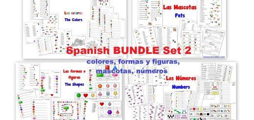 Spanish Worksheet BUNDLE Set 2 - colores formas figuras mascotas numeros
