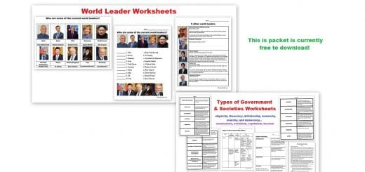 World Leaders -Types of Governments - Types of Societies Worksheets