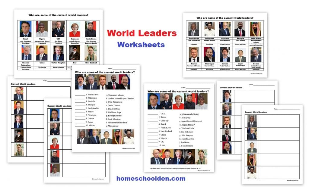 World Leaders Worksheets